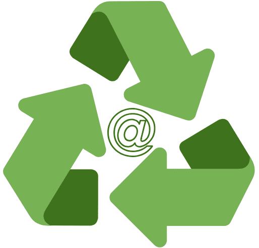 Illustration of recycled email addresses with an @ symbol in the center of a recycling triangular arrow symbol