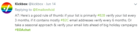 Tweet from Kickbox on how to clean an email list