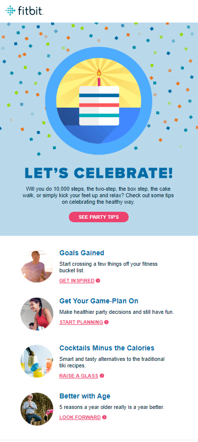 Fitbit birthday email