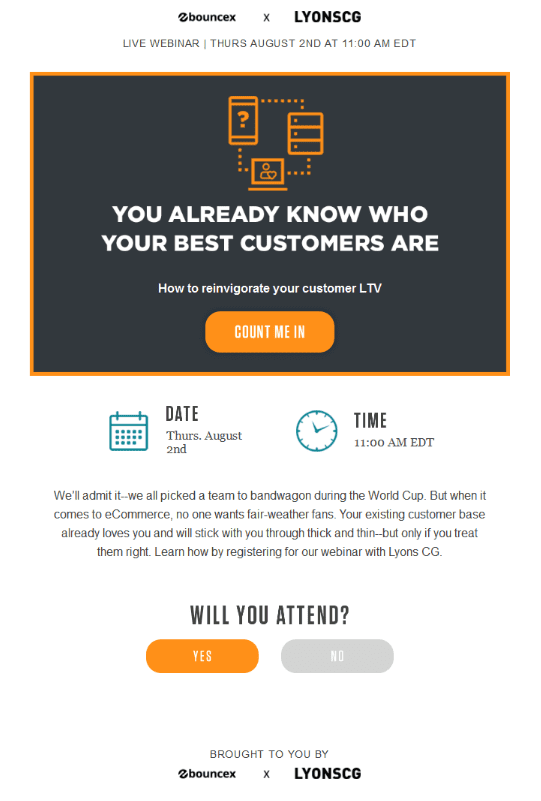 Bounce Exchange webinar email