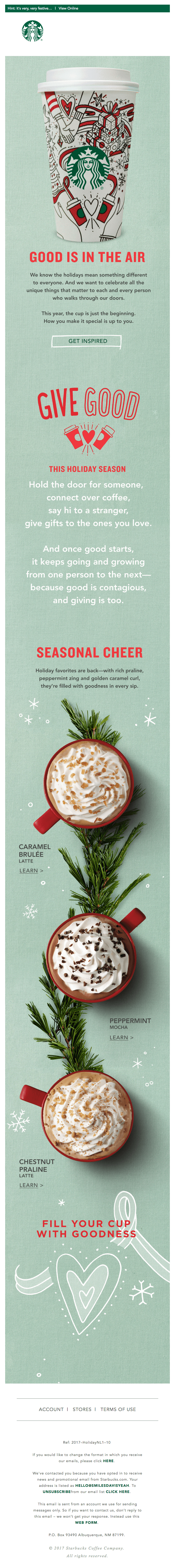 Starbucks holiday newsletter