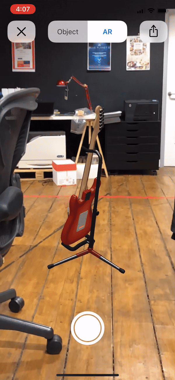 ARKit 2.0 guitar in office