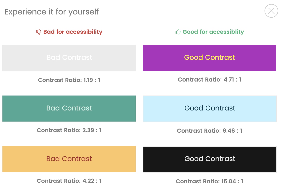 Color contrast examples