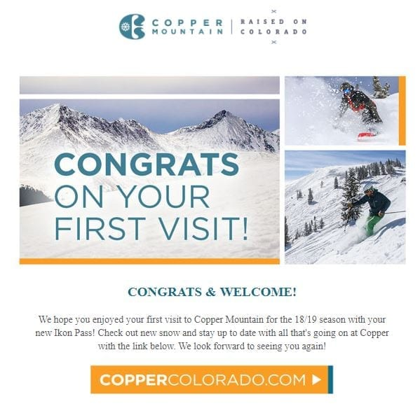 Copper Mountain visit email