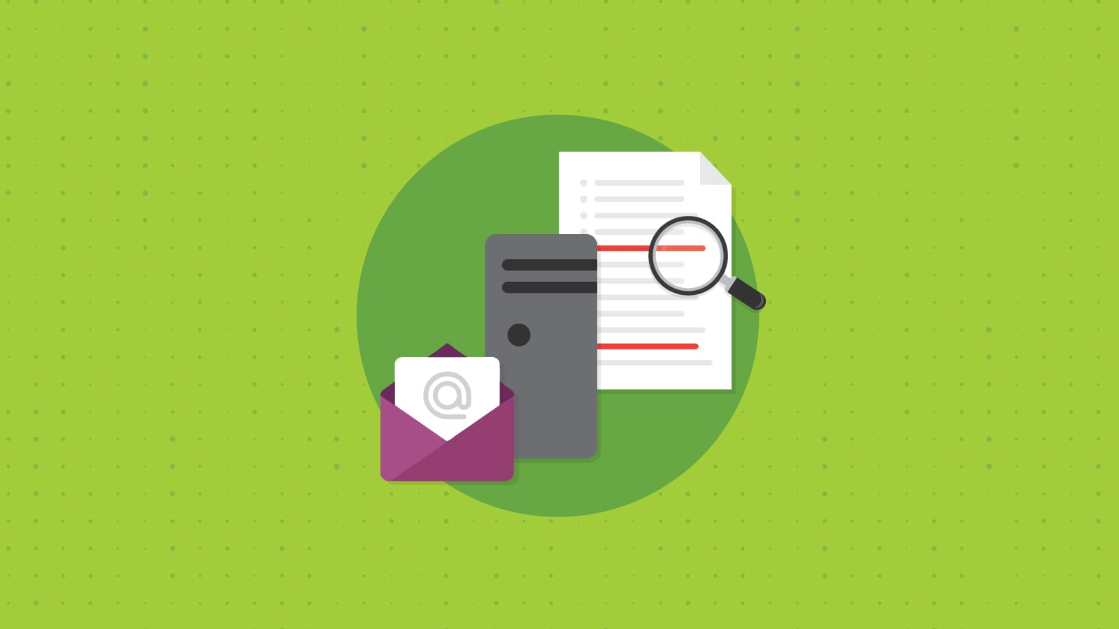 Illustration of an email getting checked against a blacklist.