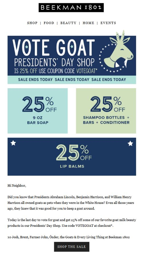Beekman 1802 President's Day email