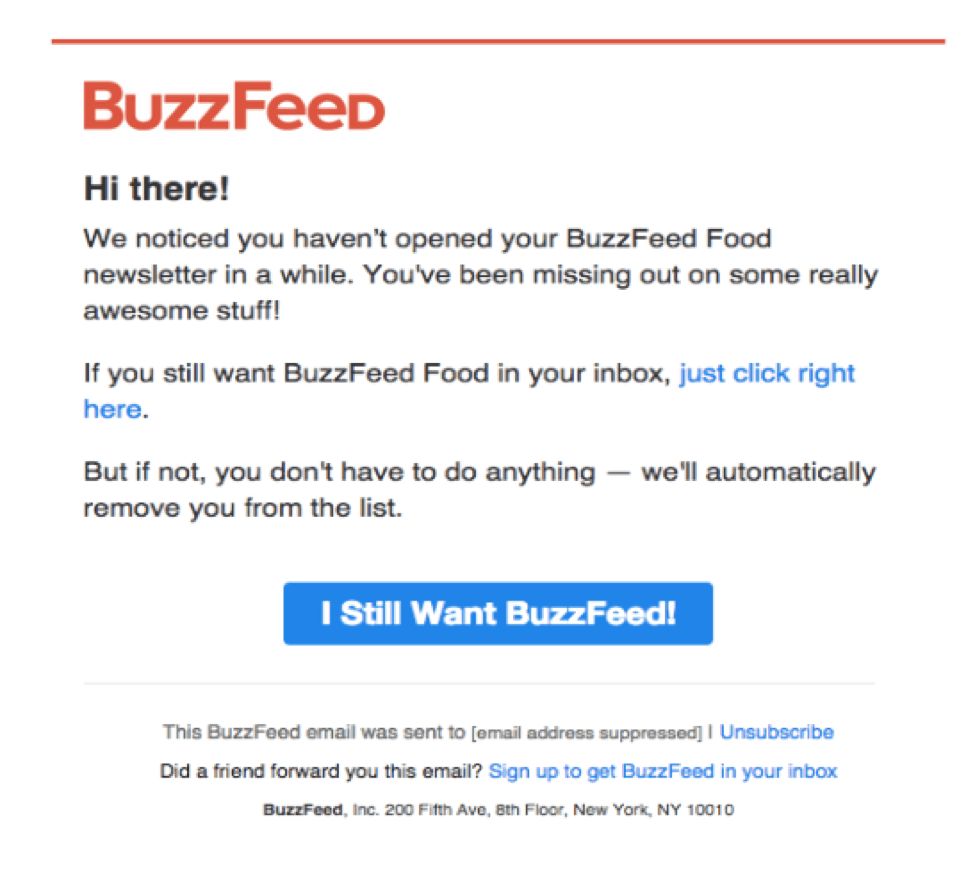 Buzzfeed reengagement email example