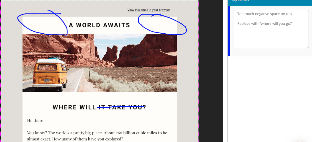 Marked up email preview