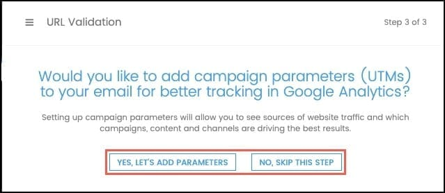 Add UTM parameters or skip this step