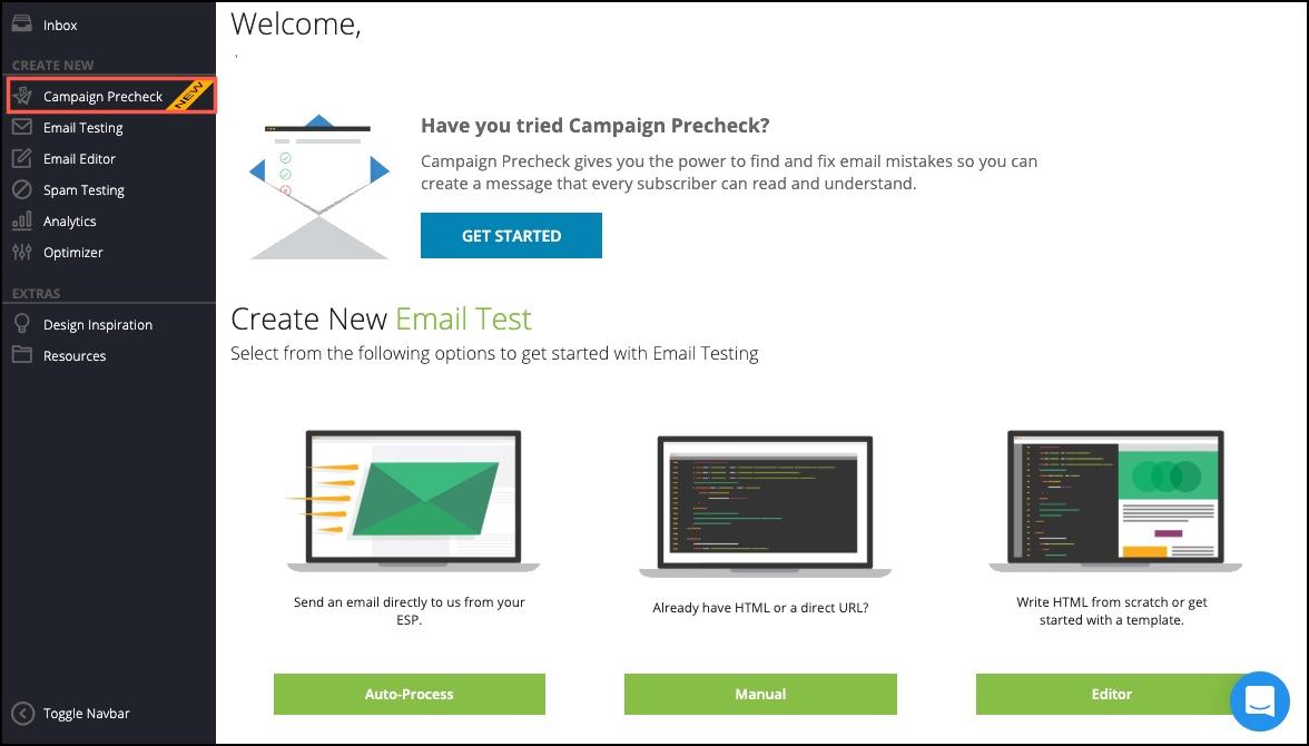Campaign Precheck Homepage view