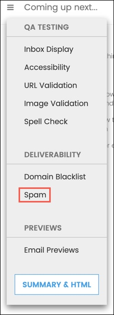 Select smam from the dropdown menu