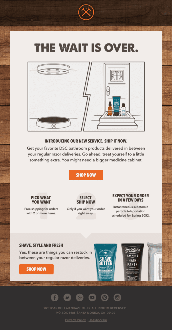 Dollar Shave Club's new offering announcement