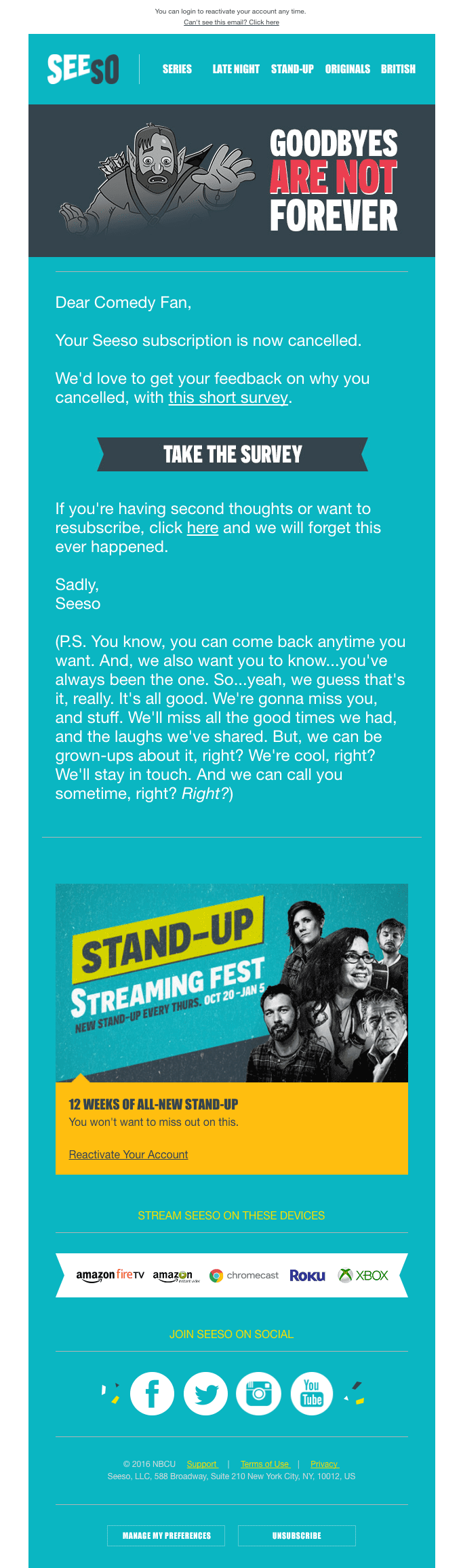 Seeso's cancellation email example