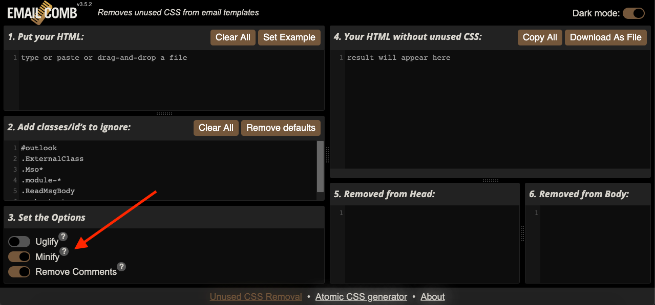 EmailComb interface in dark mode