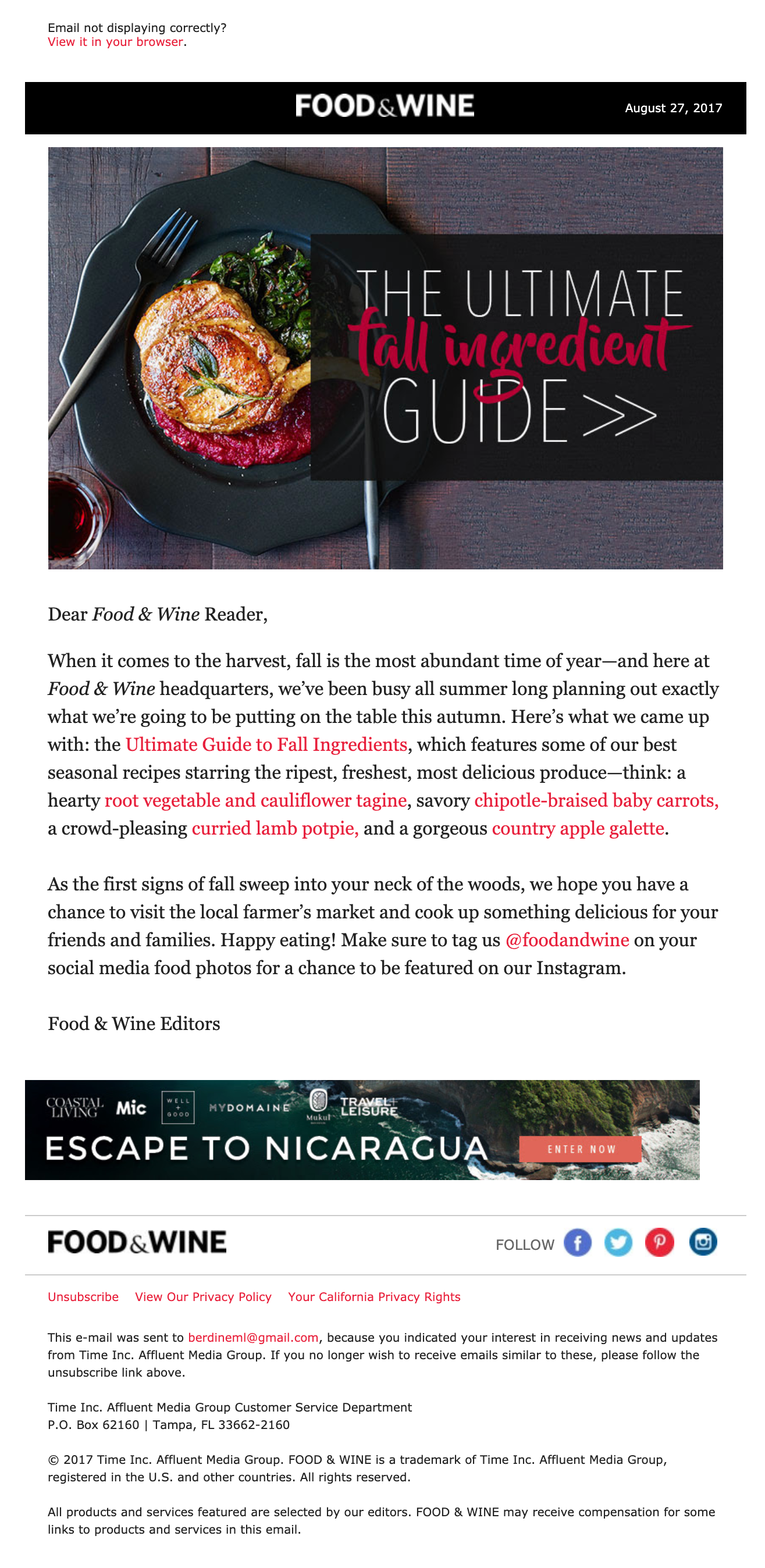 Food & Wine's email
