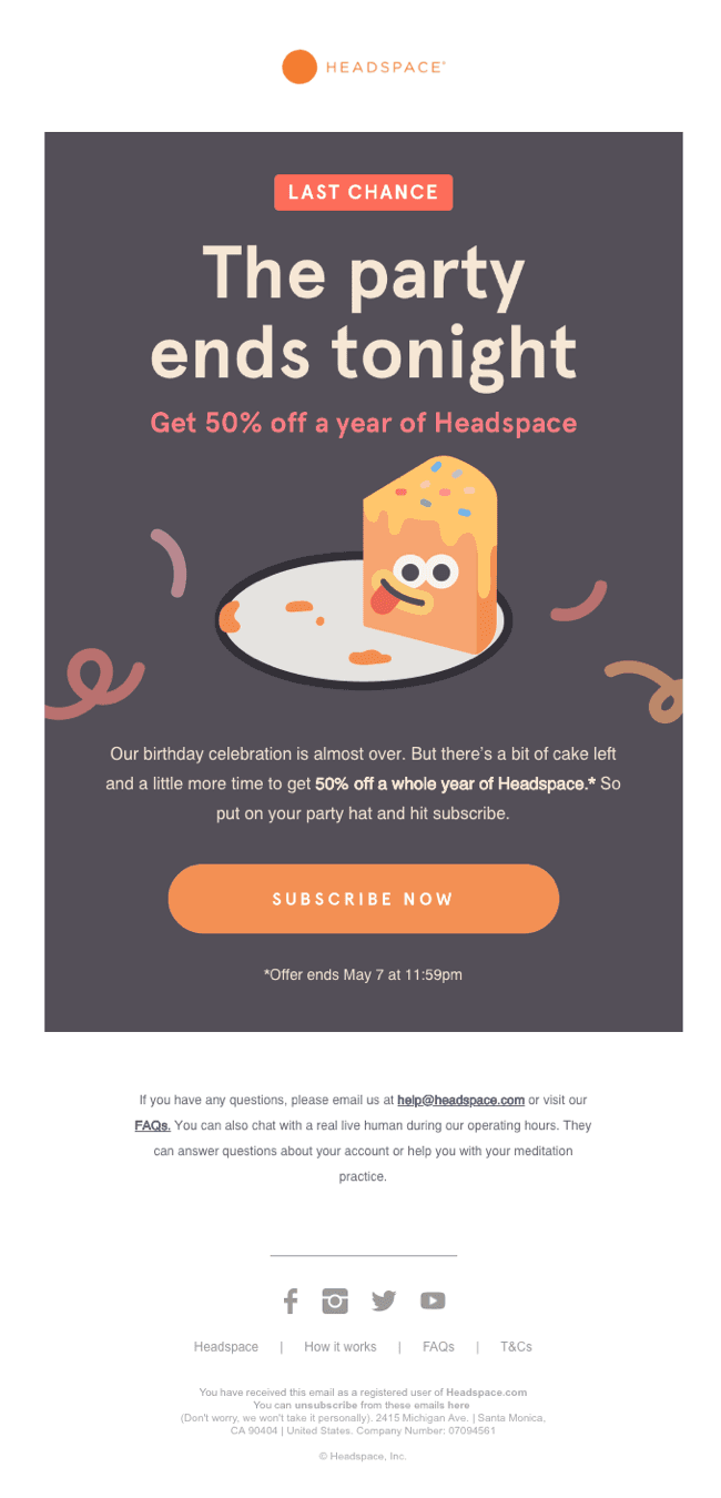 A picturesque email by Headspace