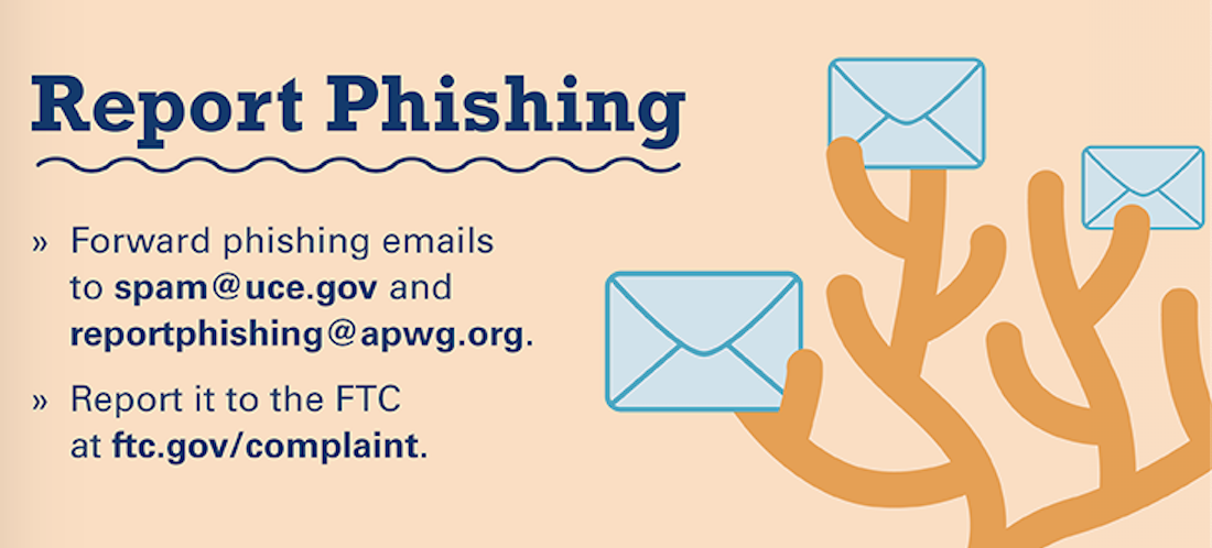Reporting phishing scams to spam@uce.gov