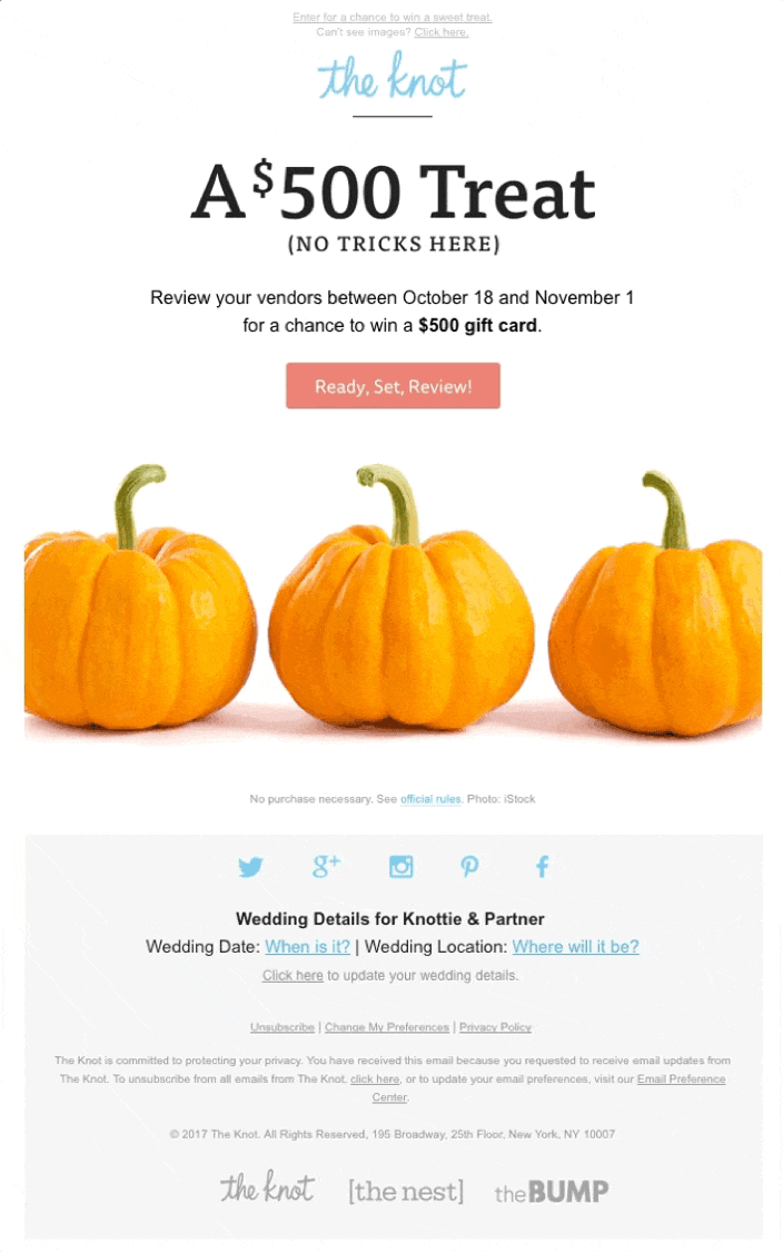 An engaging email CTA by The Knot