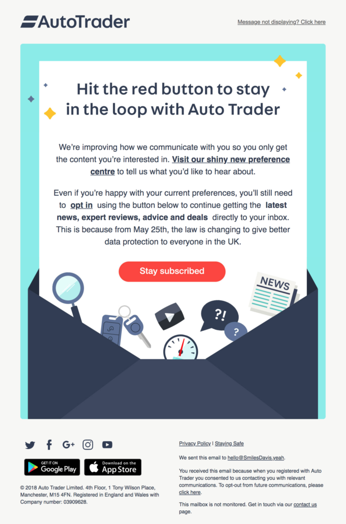 AutoTrader's re-engagement/preference center email combo