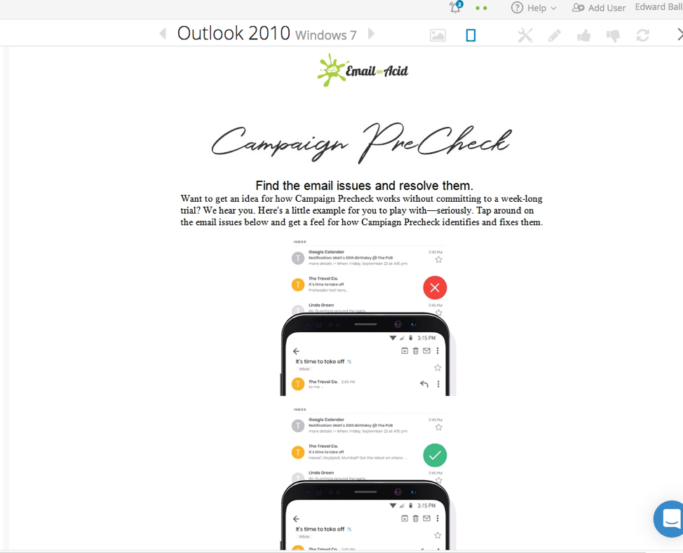 How an interactive email renders when fallbacks aren't supported