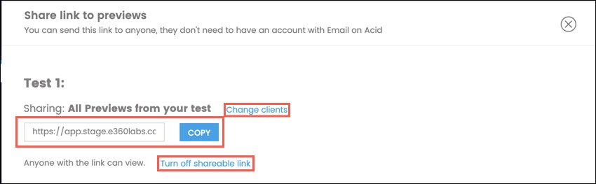 Sharing the link, changing the clients, turning the share link off