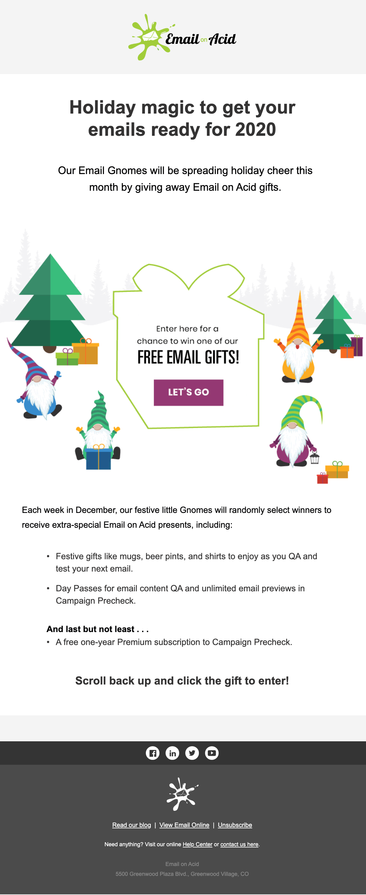 EOA's interactive email with a scratch-off present