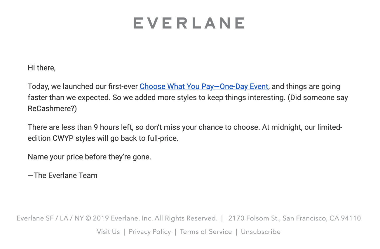 Everlane's Cyber Monday email