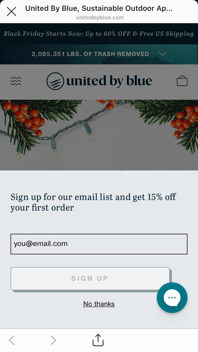 United by Blue's pop-up subscriber form