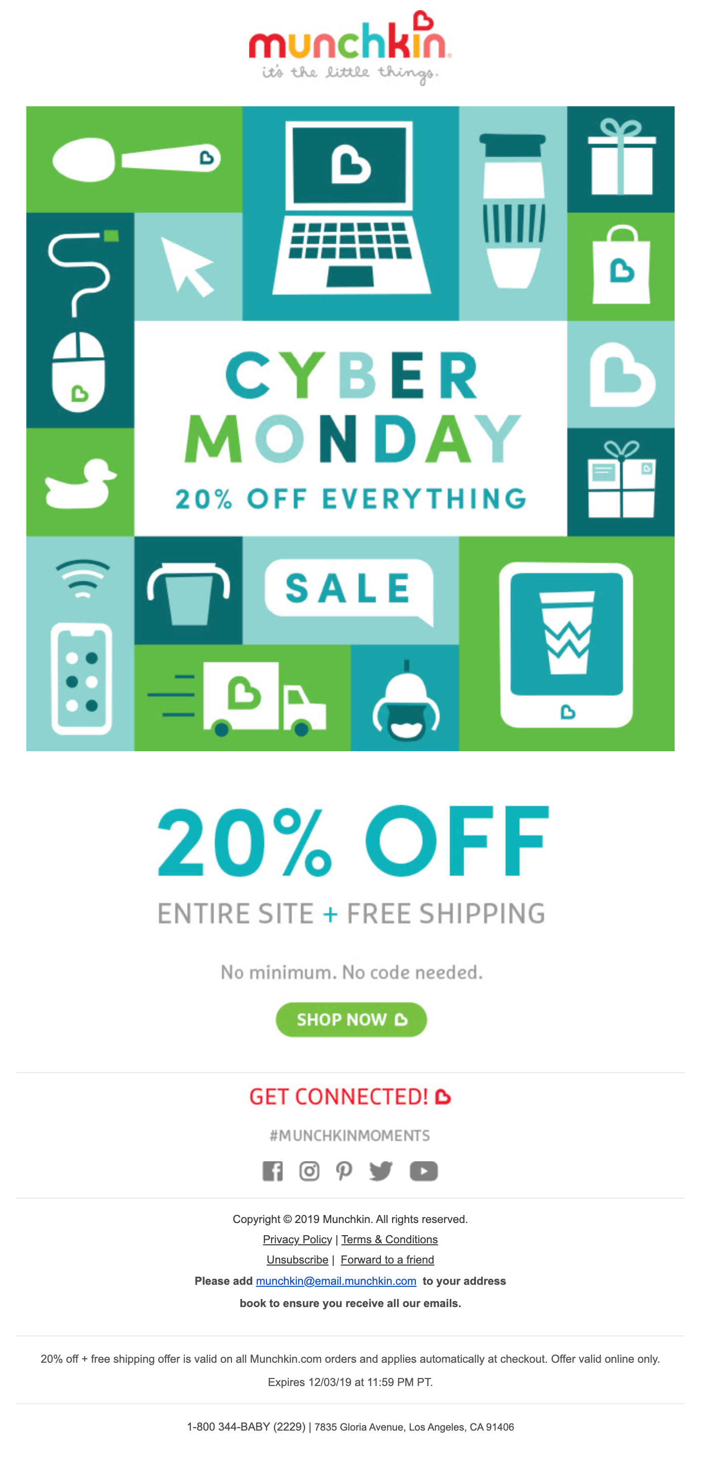Munchkin's Cyber Monday email