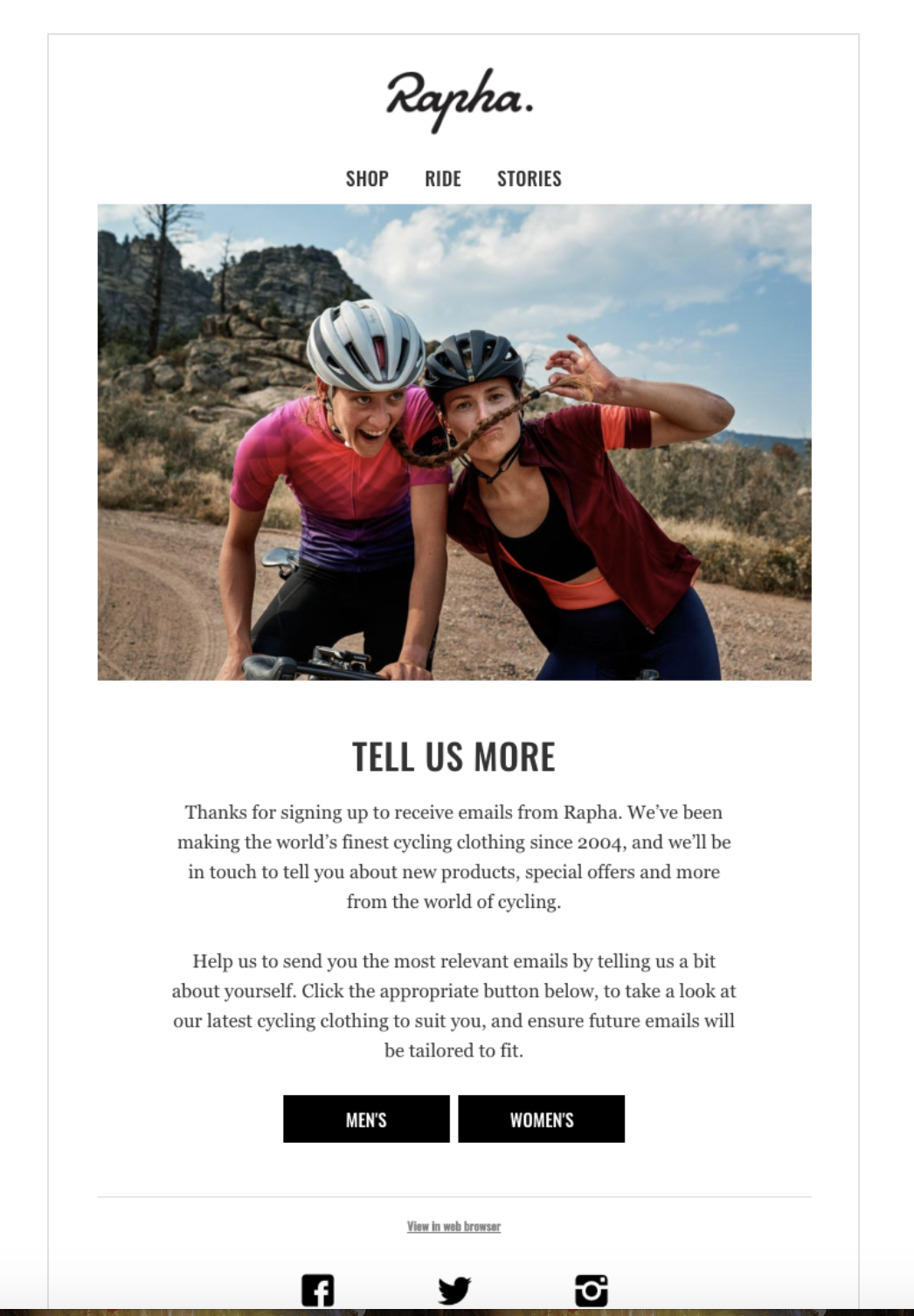 Welcome to Rapha email