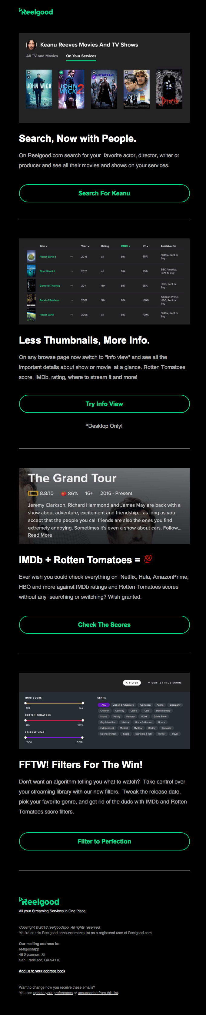Reelgood dark mode email