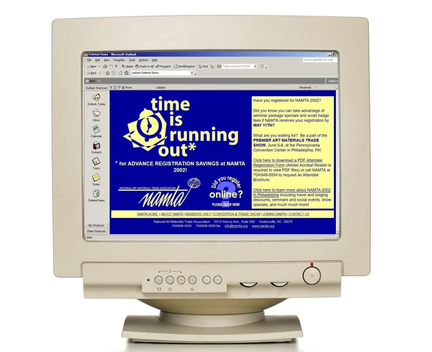 Picture of Jen Capstraw's first email. It says Time is Running Out!