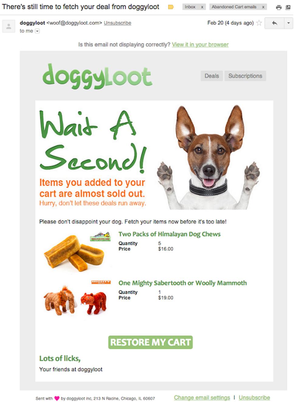 DoggyLoot abandon cart email