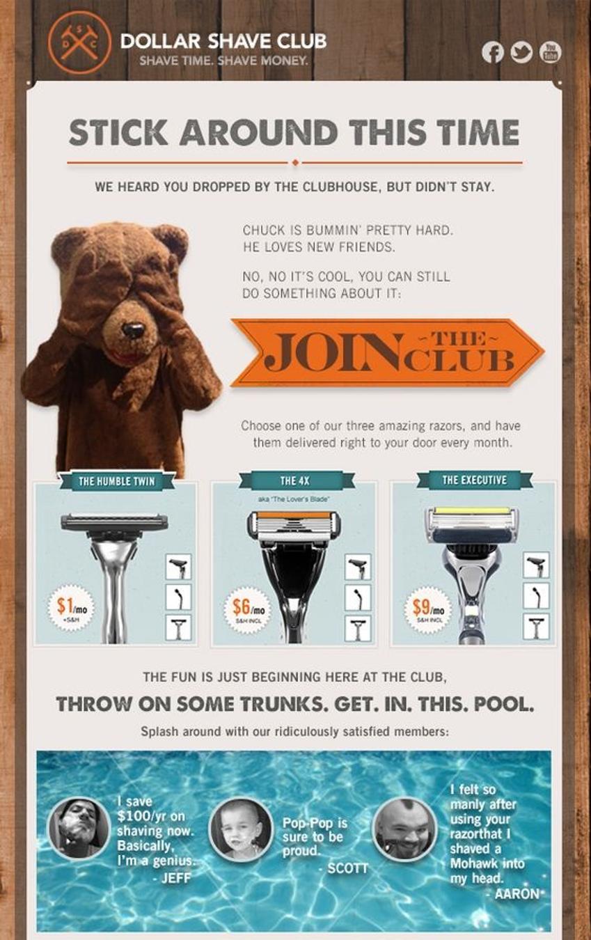 Dollar Shave Club abandon cart ad