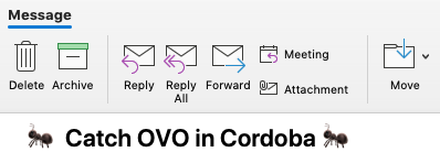 Correct version of the subject line, with ant emojis