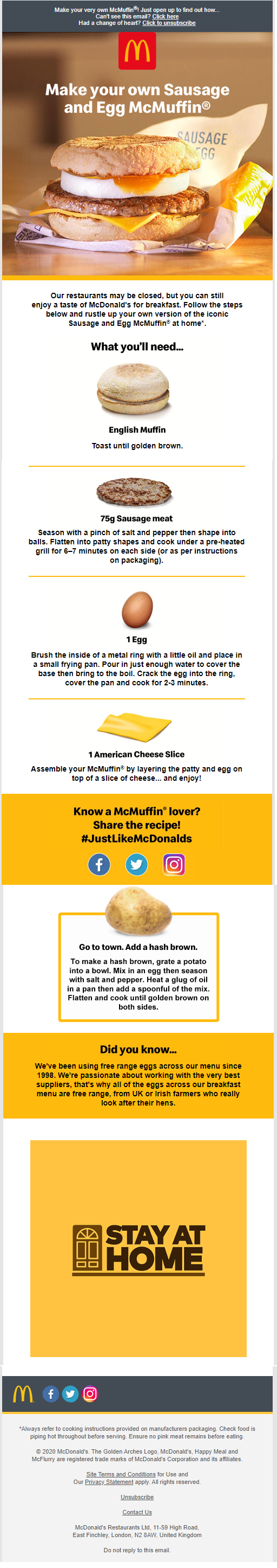 McDonald's McMuffin Email