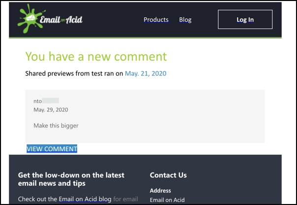 New Comment Email