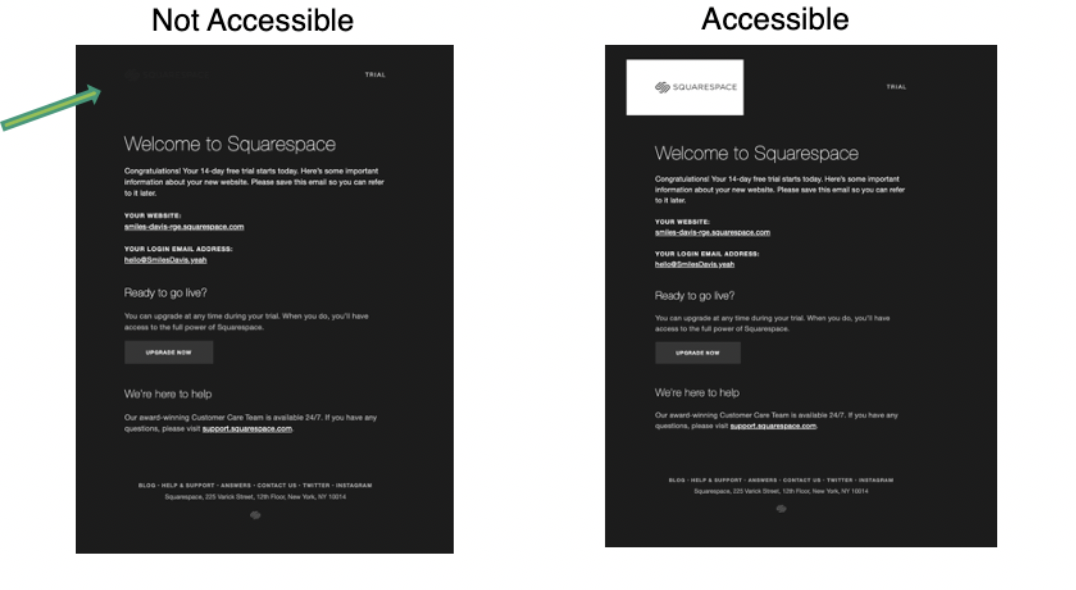 Screenshot of Squarespace HTML code
