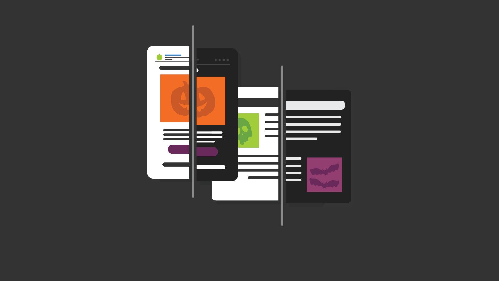 graphic of dark mode vs light mode user interfaces