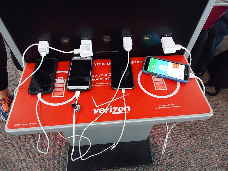 Low battery phones charging station