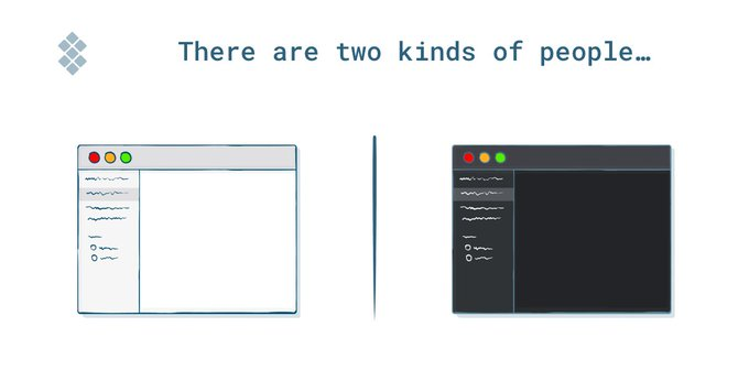 Two kinds of people - illustration of light mode and dark mode interfaces.