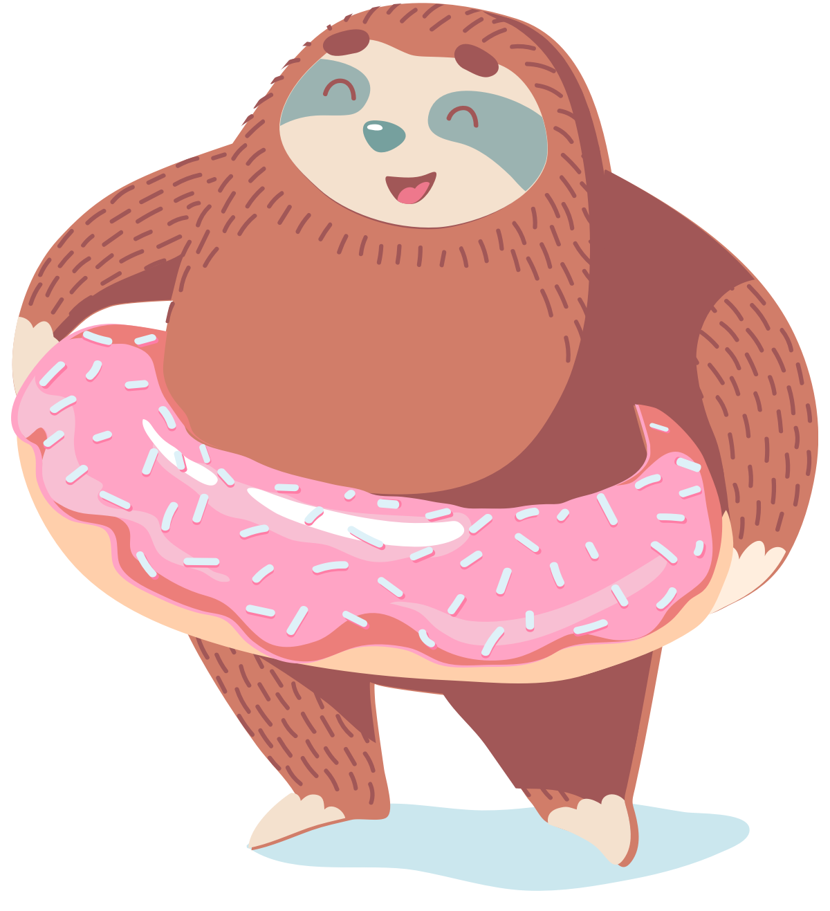 sloth with a donut