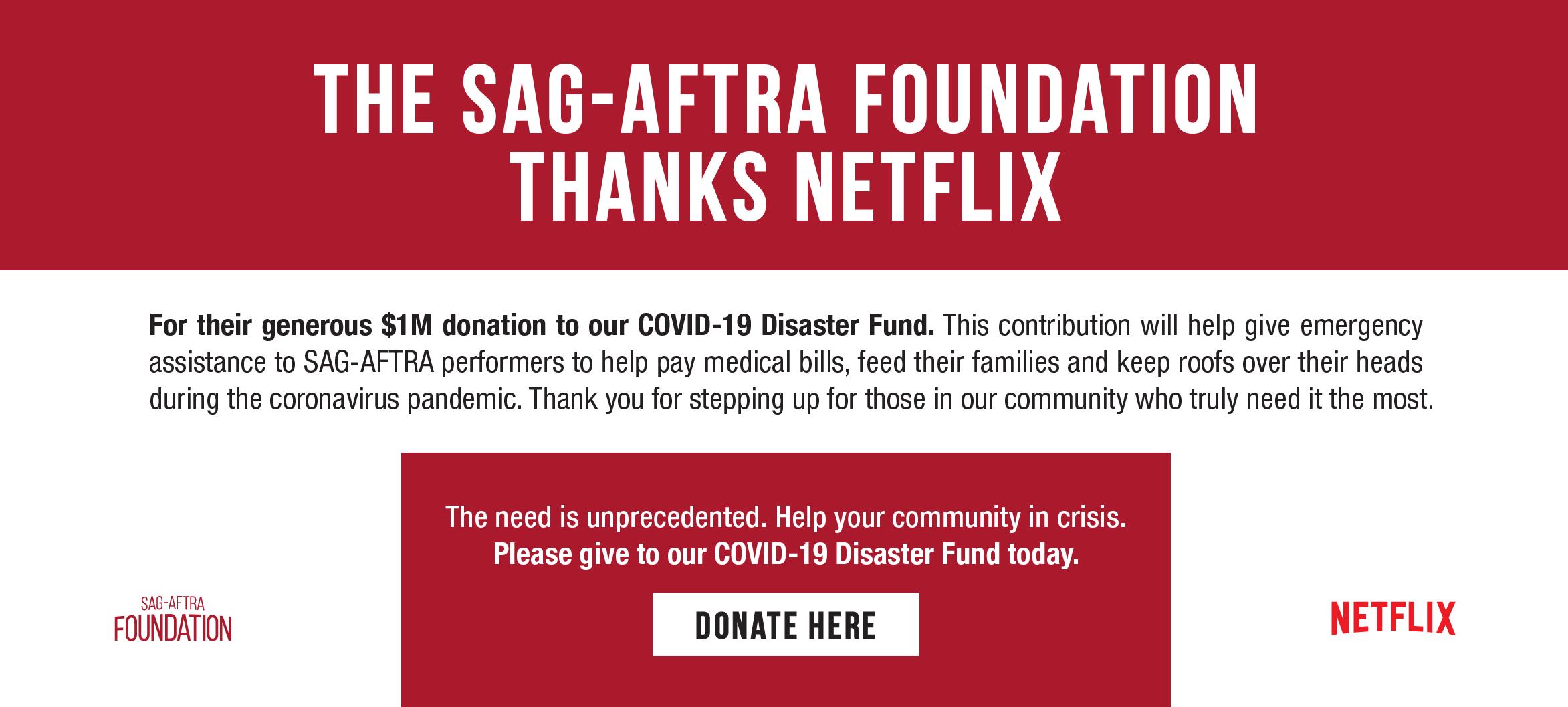 Netflix SAG-AFTRA Covid graphic