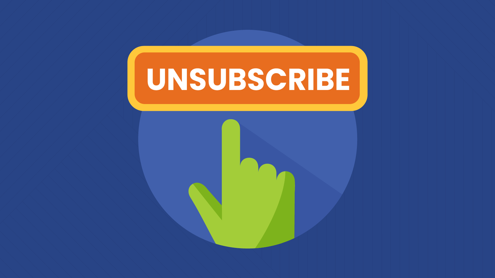 email unsubscribe button with green mouse cursor