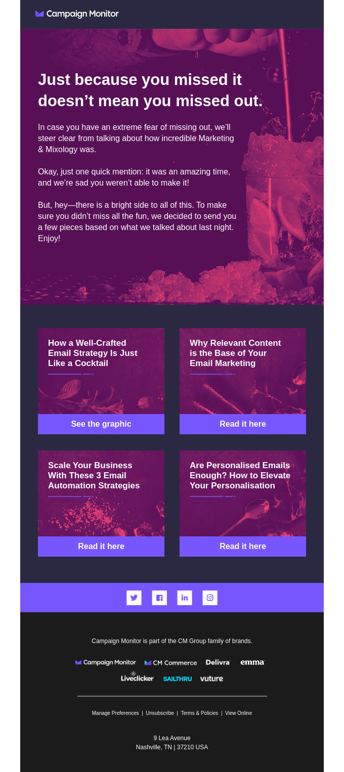 Campaign Monitor event series email