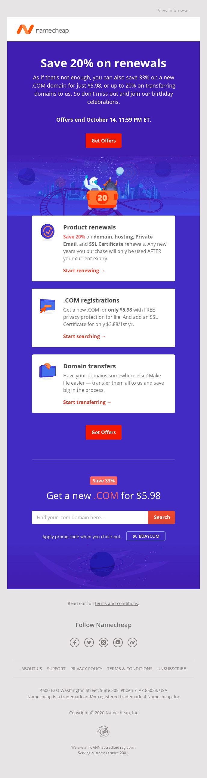 Namecheap renewal email campaign