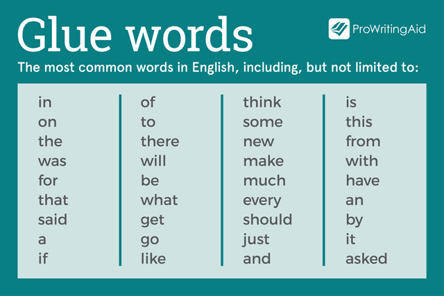 examples of glue words for email grammar and style improvements