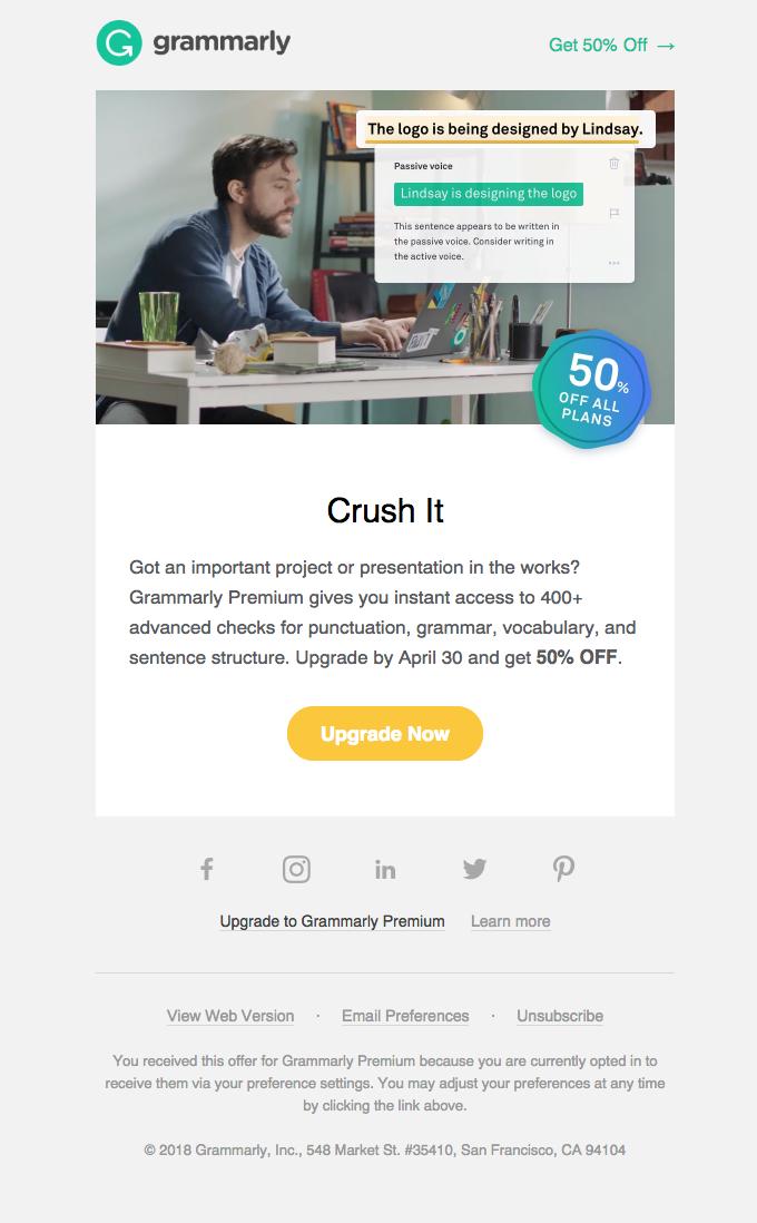 grammarly reengagement email