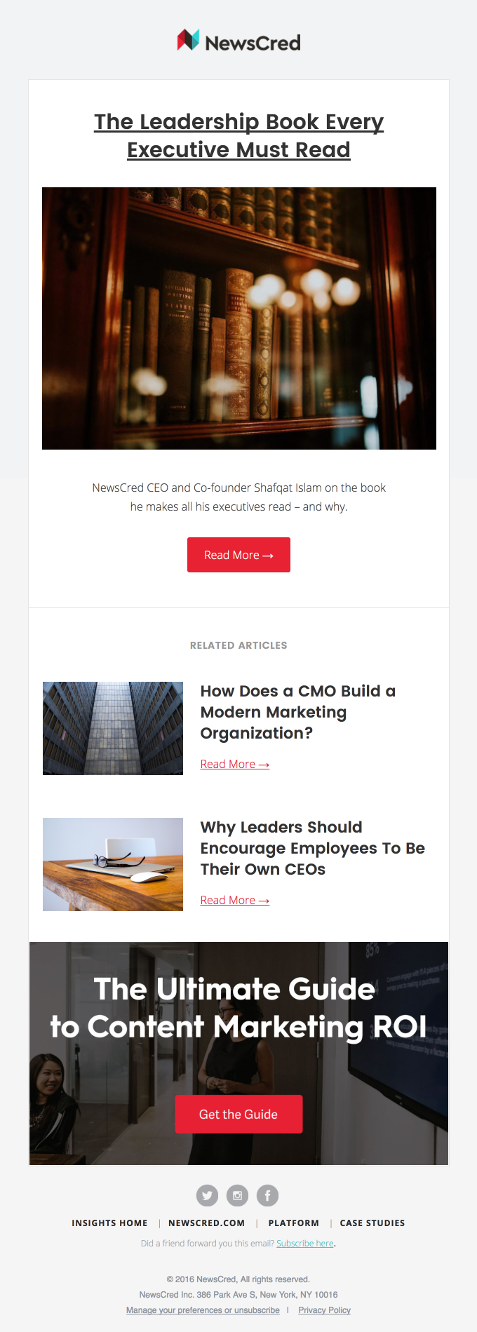 NewsCred executive email newsletter content