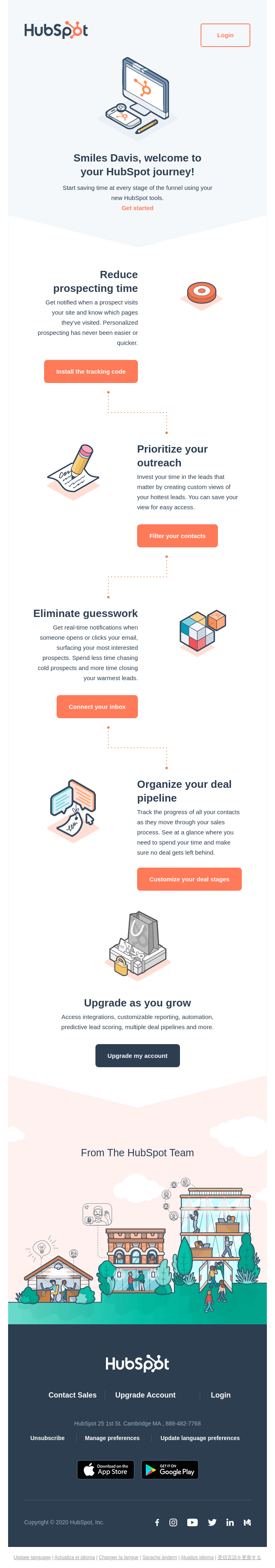 HubSpot onboarding email